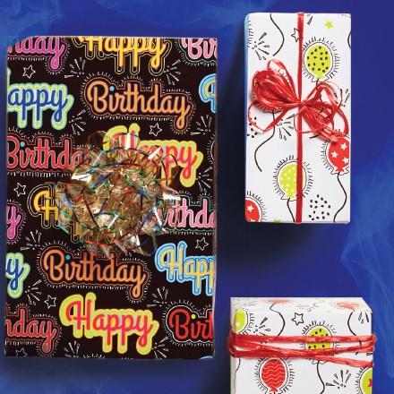 Birthday Balloons Reversible Roll Wrap 7061